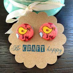 Fabric button earrings - Yellow tweety bird on Etsy, $6.00
