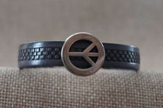 Women's 10mm leather bracelet with silver peace sign by GratefullyInspDesign on Etsy