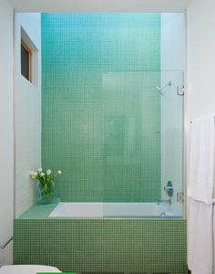 Half-glass curtain for tub/shower. But to fill tub or turn on shower you have to be standing in it!