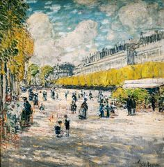 """""""Tuileries Gardens,"""" Frederick Childe Hassam, ca. oil on canvas, 24 x High Museum of Art. Claude Monet, High Museum, Art Museum, Paris, Toledo Museum Of Art, Moonlight Painting, American Impressionism, Joseph, Visual And Performing Arts"""