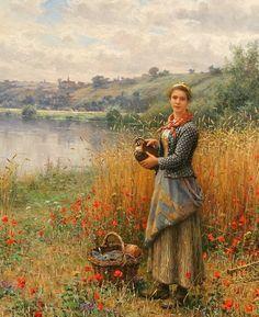 Madeleine in a Wheat Field ~ Daniel Ridgway Knight ~ (American 1839-1924):