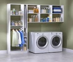 Making a laundry room that is both functional and stylish is not just a dream. Here are five functional and stylish laundry room design ideas for you. Tiny Laundry Rooms, Laundry Room Shelves, Laundry Storage, Laundry Room Design, Small Storage, Diy Storage, Storage Ideas, Storage Shelves, Small Shelves