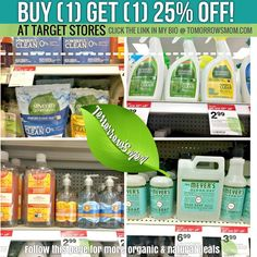BOGO 25% OFF on natural cleaning products at Target GO to link in my bio @tomorrowsmom for Printable coupons rebates and details . . . . Visit My Blog: TomorrowsMom.com  Organic & Natural Deals Family Savings Deals  . TAG OR DM THIS DEAL 2 A FRIEND . . #frugal #savings #deals #cosmicmothers  #organic #fitmom #health101 #change #nongmo #organiclife #crunchymama #organicmom #gmofree #organiclifestyle #familysavings  #healthyhabits #lifechanging #fitpeople #couponcommunity #deals  #healthyppl…