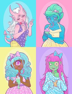 Creepy Cuties set of 4 mini prints by MagicalTeaTime on Etsy, $12.00