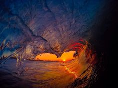 Sunset through the green room Water Art, Green Rooms, Natural Wonders, Fine Art Photography, Waves, Sunset, Nature, Outdoor, Life