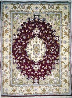 Tabriz  Beheshti Silk Persian Rug - Item# Ek-94 Size: 197 x 150 (cm)      6' 5 x 4' 11 (ft)