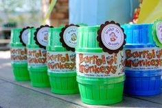 Barrel of Monkeys for a Monkey themed party