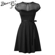 Heart Pattern Gauze Mesh Summer Dress Patchwork Swing Cocktail Bow Belt Women Little Black Dress Fashion Women Clothing New