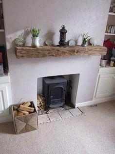 <3 Reclaimed wood mantel piece & log burner <3: