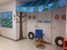 Teaching kids with an enjoyable camping theme? Here are some outdoor camping style lesson strategies, activities ideas and more. Whether you are establishing a year long class decoration scheme or jus Classroom Door, Classroom Design, School Classroom, Classroom Themes, Classroom Organization, Camping Books, Camping Theme, Camping Bulletin Boards, White Poster Board