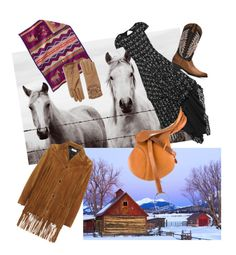 """""""Old-Fashioned Barn Dance: Arriving in Style"""" by christined1960 ❤ liked on Polyvore featuring Alice + Olivia, Frye, Pendleton, Yves Saint Laurent, Gucci, Burberry, dress, cowgirl, Horse and barn"""