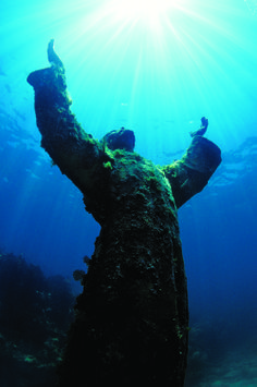 Christ of the Abyss statue off Key Largo--we will come face to face in July!