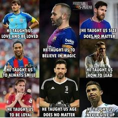 Football taught us many things. Love all this legends Funny Football Memes, Football Quotes, Football Is Life, Football Soccer, Nike Soccer, Soccer Cleats, Futsal Football, Football Clips, Soccer Room