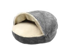 Precious Tails Gray Corduroy Round Cave Hamburger Pet Bed with Sherpa Interior and Plush Fur Interior 25' -- Continue to the product at the image link. (This is an affiliate link and I receive a commission for the sales)