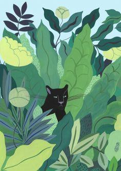 Agathe Singer - Panthère noire Illustration Jungle, Plant Illustration, Art Inspo, Painting Inspiration, Jungle Art, Drawn Art, Illustrations And Posters, Art Design, Cat Art
