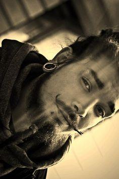 piercings, dark eyes and a twirly mustache. Mustache And Goatee, Cool Mustaches, Men's Piercings, Beard Barber, Hot Beards, Hipster Beard, Full Beard, Hey Good Lookin, Fantasy Male
