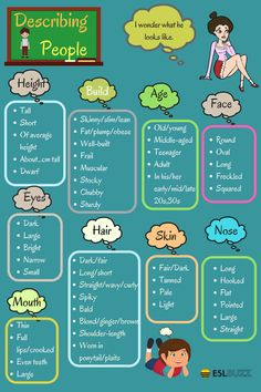 English Words for Describing a Person's Appearance - ESL Buzz # learn english words ideas English Words for Describing a Person's Appearance - ESLBuzz Learning English Common Adjectives, List Of Adjectives, English Adjectives, English Vocabulary Words, English Phrases, Adjectives To Describe People, Adjectives For Kids, Adjectives Activities, Vocabulary List