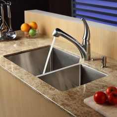 "32"" x 20"" Double Bowl 70/30 Undermount Kitchen Sink with Kitchen Faucet and Soap Dispenser 