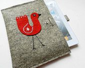 iPad Case-Kindle Cover-Handmade iPad Felt Cover- Custom Size with with happy love red bird. $25.00, via Etsy.