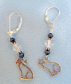 Cat Lover Earrings with Sterling Hooks and Czech crystals