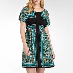 B Smart Print Dress with Smocked Waist-Plus Size - jcpenney