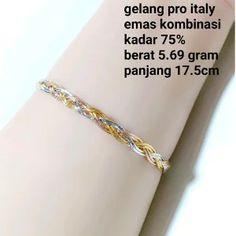 gelang wanita emas kombinasi 75 pro italy Italy, Diamond, Bracelets, Jewelry, Bangle Bracelets, Jewellery Making, Jewlery, Jewelery, Jewerly