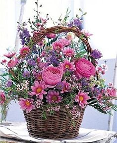 Cheer Up Flower Basket: Flower Bouquets - A heartwarming bouquet to show you care. Beautiful Flower Arrangements, Fresh Flowers, Silk Flowers, Spring Flowers, Floral Arrangements, Beautiful Flowers, Basket Of Flowers, Purple Flowers, Spring Bouquet