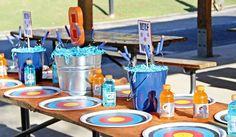 Gluesticks and Giggles's Birthday / Nerf - Photo Gallery at Catch My Party Nerf Birthday Party, Nerf Party, 11th Birthday, Battle Party, Little Man Birthday, Party Planning, Birthdays, Nerf Gun, Party Ideas