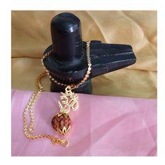 Fashion Jewelry Inventive Rudraksha Trishul Pendant-gold Color-hinduism Yoga Prayer Meditation Free Ship