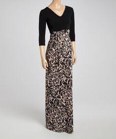 f27d16ea3b1 Black   Beige Floral Tie-Waist Maxi Dress