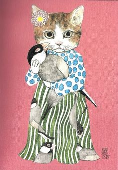 Japanese Postcard: Stylin' Kitty Cat w Polka Dots, Stripes & Bird - Higuchi Yuko - Is it bad when a cat is your style icon? Art And Illustration, Illustrations Posters, I Love Cats, Crazy Cats, Cool Cats, Top Art Schools, Cat People, Cat Drawing, Cat Art