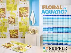 Which of the following shower #curtains would you like to have in your bathroom? Floral or Aquatic? #Quiz