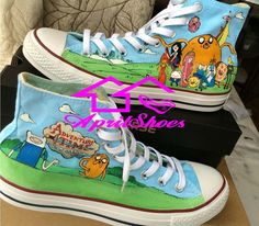 Hey, I found this really awesome Etsy listing at https://www.etsy.com/listing/200166502/adventure-time-converse-shoes-custom