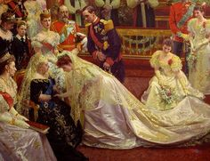 At a royal wedding: the bride being presented to Queen Victoria.