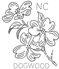 Turkey feather's embroidery pattern for a dogwood.