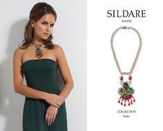 Red orange green purple Swarovski crystals silk by SILDARE on Etsy, $299.00