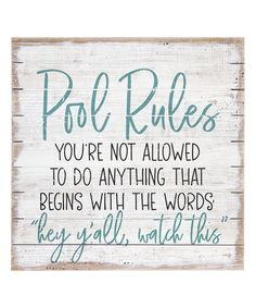 Loving this 'Pool Rules' Wood Wall Art on #zulily! #zulilyfinds