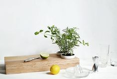 Construct a cutting board with built-in herb planters.