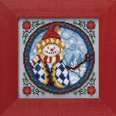 """JS149104 - Western Snowman by Jim Shore (2009) - Mill Hill - Jim Shore Kits - Winter Series Kit Includes: Beads, ceramic button, 14ct perforated paper, needles, floss, chart and instructions. Mill Hill frame GBFRM9 sold separately Size: 5"""" x 5"""""""