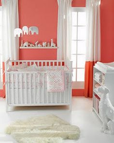 Coral & White Baby Room