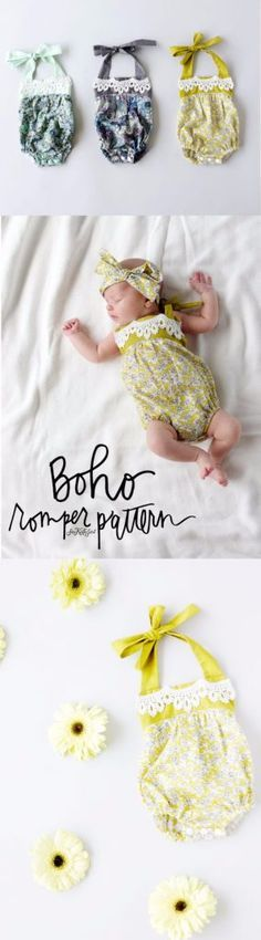 51 Things to Sew for Baby - Boho Baby Romper - Cool Gifts For Baby, Easy Things To Sew And Sell, Quick Things To Sew For Baby, Easy Baby Sewing Projects For Beginners, Baby Items To Sew And Sell http://diyjoy.com/sewing-projects-for-baby