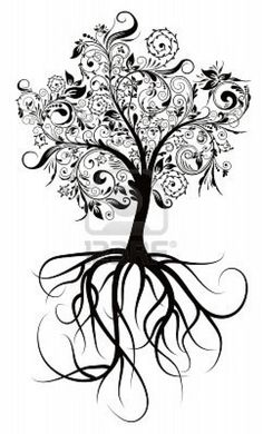 Tree as a tatoo with the roots and wings quote.