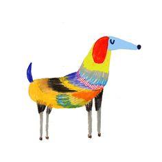Dog illustration by Ashley Percival. dogs - illustrator - art - design - dog art - cute