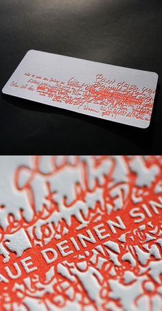 Letterpress business card design idea. I love the clarity within the clutter. Beautiful printing.