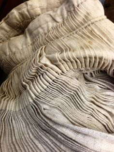 thevintaquarian:  Pleated antique linen from Selvedge Spring Fair 2013