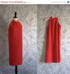 Vintage 1960s Dress Red Mod Shift Crepe by SassySisterVintage, $62.40