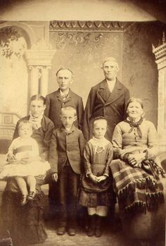 Grandma Bertha, her mother Emelia and father Henry Hacker with siblings. #family #photo 1882