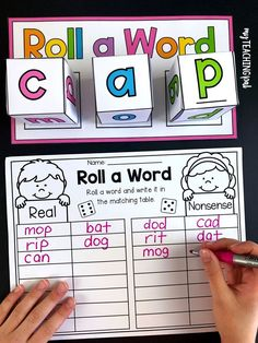 Students roll 3 dice to form a word and then sort it by whether it is real or nonsense. Kindergarten Language Arts, Kindergarten Centers, Homeschool Kindergarten, Kindergarten Reading, Teaching Reading, Preschool Literacy, Homeschooling, Reading Skills, Phonics Activities