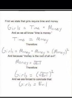 Math Humor.  Girls aren't evil, but this is funny anyway.