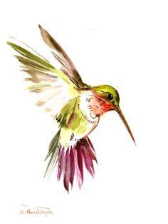 Hummingbird art original watercolor painting 12 X by ORIGINALONLY